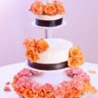 3-Tier Floating Wedding Cake with Fresh Orange Flowers