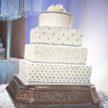 Elegant White Wedding Cake with Decorative Rhinestones